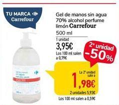 Oferta de Gel de manos sin agua 70% alcohol perfume limón Carrefour por 1,98€