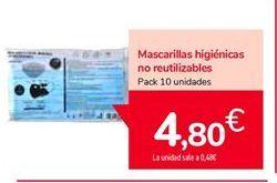 Oferta de Mascarillas higiénicas no reutilizables por 4,8€