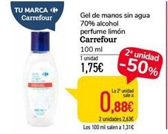 Oferta de Gel de manos sin agua 70% alcohol perfume limón Carrefour por 0,88€