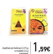 Oferta de Azafrán en hebras o molido SAFRINA  por 1,59€