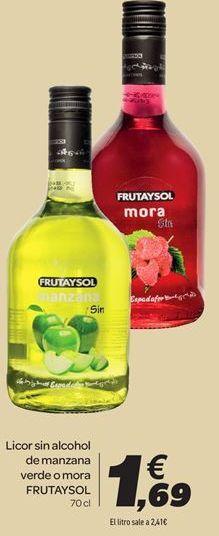 Oferta de Licor sin alcohol de manzana verde o mora FRUTAYSOL por 1,69€