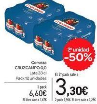 Oferta de Cerveza CRUZCAMPO 0,0 por 6,6€