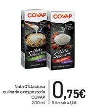 Oferta de Nata 0% lactosa culinaria o repostería COVAP por 0,75€
