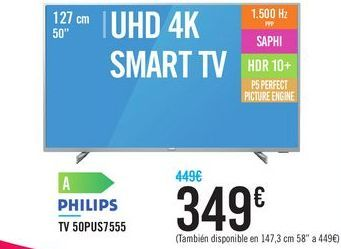 "Oferta de TV 50"" UHD 4K SMART TV 50PUS7555 PHILIPS por 349€"