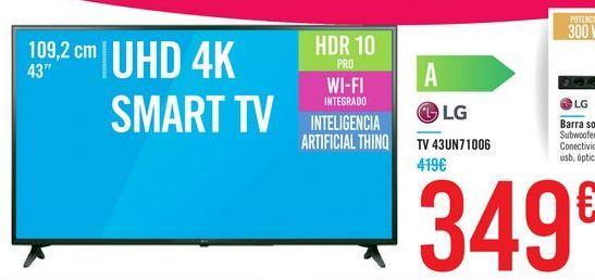 """Oferta de TV 43"""" UHD 4K SMART TV 43UN71006 LG por 349€"""