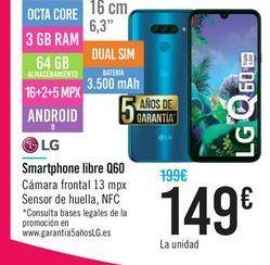 Oferta de Smartphone libre Q60 LG por 149€
