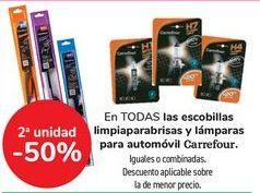 Oferta de En TODAS las escobillas limpiaparabrisas y lámparas para automóvil Carrefour, iguales o combinados  por
