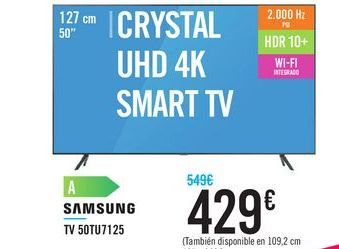 "Oferta de TV 50"" CRYSTAL UHD 4K SMART TV 50TU7125 SAMSUNG por 429€"