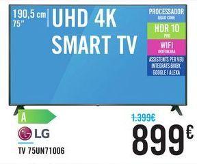 """Oferta de TV 75"""" UHD 4K SMART TV 75UN71006 LG por 899€"""