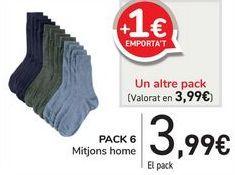 Oferta de PACK 6 Calcetín hombre  por 3,99€