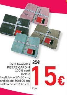 Oferta de Juego 3 toallas PIERRE CARDIN por 15€