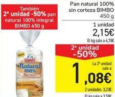 Oferta de Pan natural 100% sin corteza BIMBO por 2,15€