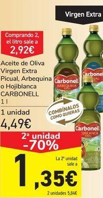 Oferta de Aceite de oliva Virgen Extra Picual, Arbequina u Hojiblanca CARBONELL por 4,49€
