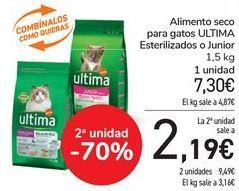 Oferta de Alimento seco para gatos ULTIMA Esterilizados o Junior por 7,3€