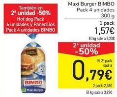 Oferta de Maxi Burguer BIMBO por 1,57€