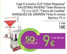 """Oferta de Caja 6 botellas D.O. """"Utiel-Requena"""" FAUSTINO RIVERO tinto Reserva o I.G.P. """"Tierra de Castilla"""" MARQUÉS DE GRIÑÓN tinto 8 meses Barrica por 18€"""