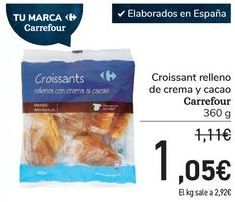 Oferta de Croissants rellenos de crema y cacao Carrefour por 1,05€