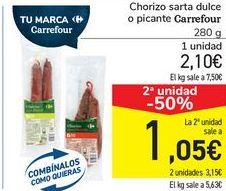 Oferta de Chorizo sarte dulce po picante Carrefour por 2,1€
