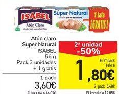 Oferta de Atún claro Super Natural ISABEL por 3,6€