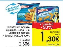 Oferta de Peskitos de merluza o salmón o Varitas de merluza PESCANOVA por 2,6€