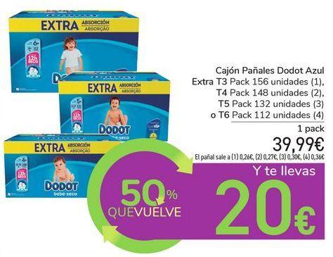 Oferta de Cajón Pañales Dodot Azul Extra por 39,99€