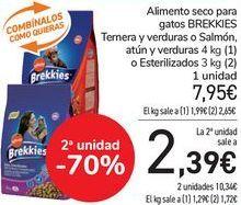 Oferta de Alimento seco para gatos BREKKIES Ternera y verdura o Salmón, Atún y verduras o Esterilizados  por 7,95€