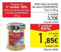 Oferta de Atún claro en aceite de oliva CONSORCIO por 3,7€