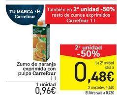 Oferta de Zumo de naranka exprimida con pulpa Carrefour  por 0,96€