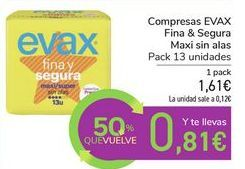 Oferta de Compresas EVAX Fina & Segura Maxi sin alas por 1,61€