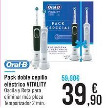 Oferta de Pack doble cepillo eléctrico VITALITY Oral-B por 39,9€
