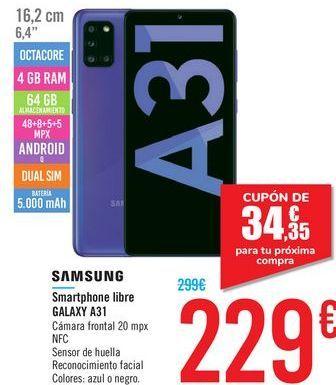 Oferta de Smartphone libre GALAXY A31 SAMSUNG por 229€