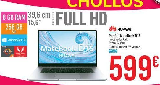 Oferta de Portátil MateBook D15 HUAWEI por 599€