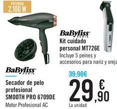 Oferta de Secador de pelo profesional SMOOTH PRO 6709DE BaByliss por 29,9€