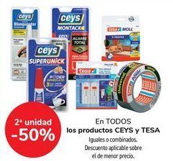 Oferta de En TODOS los productos CEYS y TESA, iguales o combinados  por