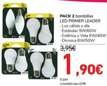 Oferta de PACK 2 Bombillas LED PRIMER LEADER  por 1,95€