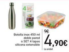 Oferta de Botella inox 450ml doble pared o SET 4 tapas silicona extensible por 4,9€