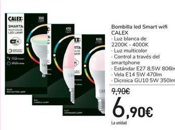 Oferta de Bombilla led Smart wifi CALEX por 6,9€