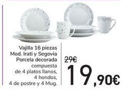 Oferta de Vajilla 16 piezas Mod. Irati y Segovia Porcela decorada por 19,9€