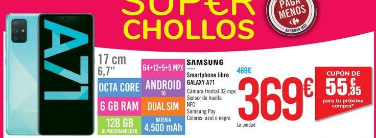 Oferta de Smartphone libre Galaxy A71 SAMSUNG por 369€