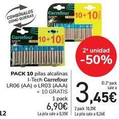 Oferta de PACK 10 pilas alcalinas I-Tech Carrefour  por 6,9€