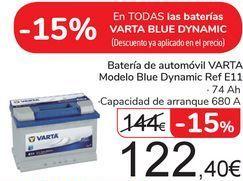 Oferta de Batería de automóvil VARTA Modelo Blue Dynamic Ref E11 por