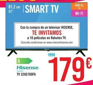 """Oferta de TV SMART TV 32"""" 32A5700FA Hisense por 179€"""