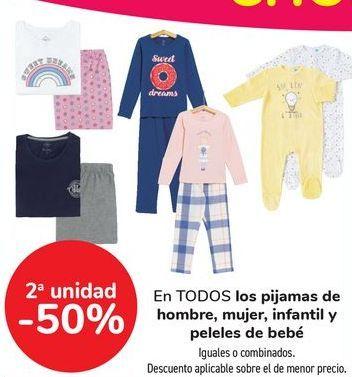 Oferta de En TODOS los pijamas de hombre, mujer, infantil y peleles de bebé, iguales o combinados  por
