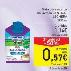 Oferta de Nata para montar sin lactosa CENTRAL LECHERA  por 1,14€