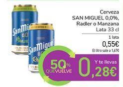 Oferta de Cerveza SAN MIGUEL 0,0%, Radler o Manzana por 0,56€