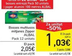 Oferta de Bolsas multiusos medianas Zipper ALBAL por 2,05€