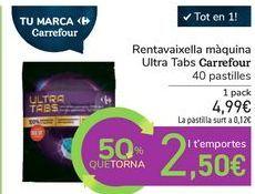 Oferta de Lavavajillas máquina Ultra Tabs Carrefour por 4,99€