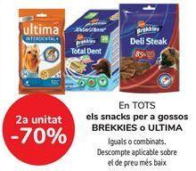 Oferta de En TODOS los snacks para perros BREKKIES o ULTIMA, iguales o combinados por