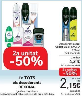 Oferta de En TODOS los desodorantes REXONA, iguales o combinados  por