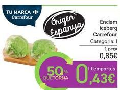 Oferta de Lechuga iceberg Carrefour por 0,85€